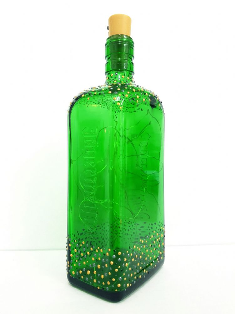 Decorated 'Jägermeister' Green Glass Bottle with Lights